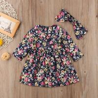 US Cotton Toddler Baby Girls Floral Dress Kids Princess Party Dress+Headband Set