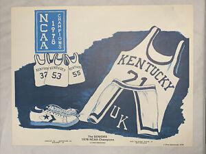 1978 Kentucky Wildcats Basketball NCAA Champions The Seniors Print Poster Litho