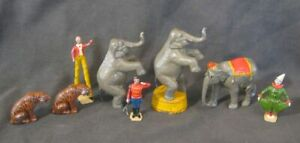 Lot of Vintage Lead Circus Toy Figures Elephants Tigers People 1940s