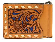Nocona Western Mens Money Clip Bifold Leather Floral Laced Pierced Tan N5497727
