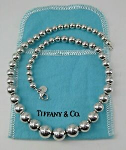 """Tiffany & Co Sterling Silver Graduated Ball Bead Necklace 16"""" Lobster Claw Pouch"""