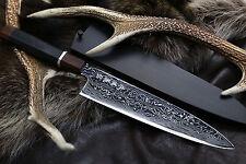 Yoshihiro VG10 Suminagashi Super Forged Steel Gyuto 24cm Chef Knife Ebony Handle