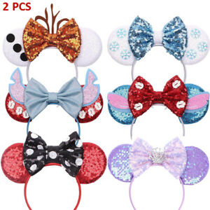 2PCS Ladies Girls Halloween Sequin Headband Party Mini Mouse Ears Hairbands Gift