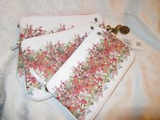 Elliott Lucca  White Artisan Floral 3 Piece Clutch / Cosmetic Set  NWT 55% OFF