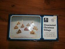 vintage plastic christmas village with lights 1 church 8 houses midget light set