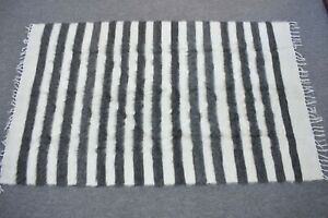 Gray Patterned Turkish Siirt Kilim Blanket Rug 46.1 x 75.9 inch New Kilim