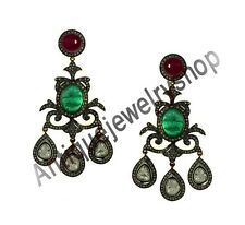 HAND-MADE ANTIQUE ROSE CUT DIAMOND 5.44ct SILVER 925 POLKI EMERALD RUBY EARRINGS