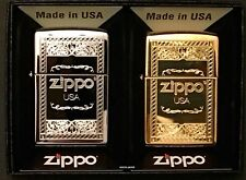 Zippo Collectors Set Of 2 Logo Frame Lighters, Chrome and Brass, New In Dual Box