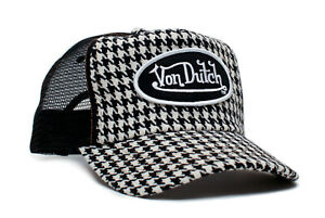Authentic Brand New Von Dutch Houndstooth Cap Hat Mesh Snapback