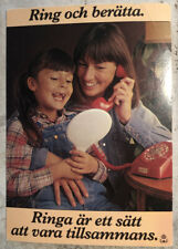 Vintage Postcard ~ Girl & Mom On Phone Via Sweden 1994