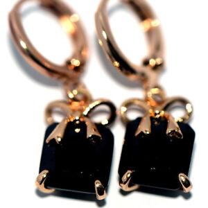 Bow Knot Black Stone Crystal Dangle Earrings Drop Earrings For Womens Gold 18K
