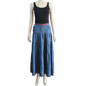 Maxi Skirt Denim Skirt Long skirts Blue skirt Skirts online New Size S M L