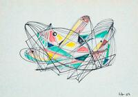 Silvio POLLONI (1888-1972) Quadro DIPINTO Tecnica Mista su cartoncino Astratto