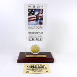 Highland Mint Super Bowl X  Replica Ticket with Bronze Coin