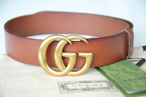 Authentic GUCCI MARMONT GOLD GG Buckle BROWN Belt size 80 / 32 fits 26-28