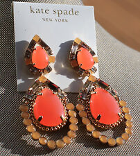 HUGE Kate Spade NY AMALFI MOSAIC TEARDROP Gems Gold Filled Chandelier Earrings
