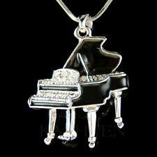 w Swarovski Crystal ~Black Enamel MUSIC Baby Grand Piano~ Jewelry Charm Necklace