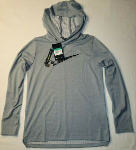 New Nike Youth Boys DRI-FIT Long Sleeve Hooded Shirt Size XL Color Gray FREE SHP