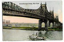 Queensborough Bridge, New York , PPC Walworth PMK to Poplar with Steamer Below