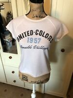BENETTON Ladies White Cotton College Style Cropped Cap Sleeve T Shirt Size S