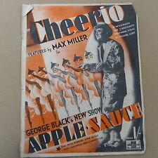 "songsheet CHEERIO ""Apple Sauce"" Max Miller 1940"