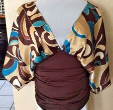 Juniors Womens Size Small Beautiful Brown Deep V-Neckline Kimono Sleeve Blouse