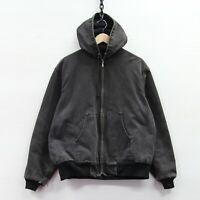 Vintage Carhartt Canvas Bomber Work Jacket Size XL Black Hooded Mesh Lined