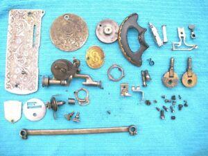 Antique Singer Sewing Machine Parts, Badge, Shuttle, Bobbin, Hinges, Screws ++