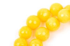 10mm Round Faceted LEMON YELLOW JADE Gemstone Beads, full strand gjd0060