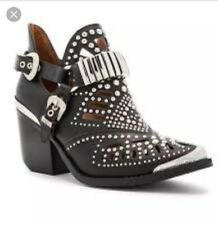 NWB Jeffrey Campbell Calhoun-4 Black Leather / Silver Western Bootie, 8.5, $265