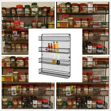 Wall Mount Kitchen Door Cupboard Storage Spice Rack Pantry Bottle Organizer Gift