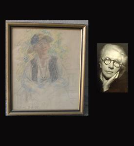 Anna Munch (1860) Female pioneer Artist. Portrait of a woman. Rare work.