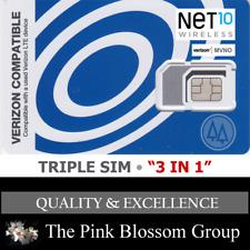 NET10  TRIPLE SIM Card • MINI 2FF MICRO 3FF NANO 4FF   • CDMA 4GLTE Verizon MVNO