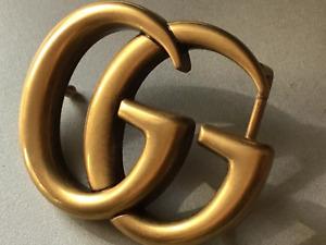 Authentic Large Men's GUCCI Marmont GG Antiqued Matte Gold Belt Buckle Accessory
