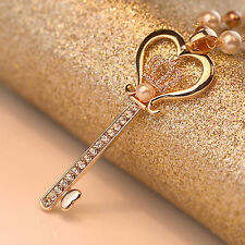 Women Fashion Key Pendant Pearl Crystal Rhinestone Long Chain Necklace Jewelry