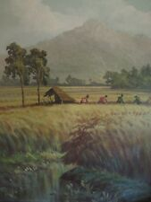 MID CENTURY PAINTING OF  PEOPLE IN A  FIELD FROM SEATTLE LOWMAN &HANFORD