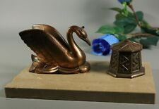 French ART DECO Bronzed Spelter Swan Figure Marble Base Inkwell Desk Stand