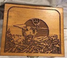 Vintage Leitz Leica Carved Walnut Wood Presentation Box #1 Deer Scene *EXCELLENT