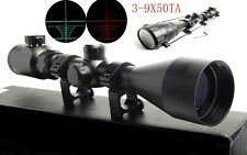 Illuminated 3-9X50TA Red/Green Optics Scope Sight &20mm Rail Mount For Rifle