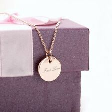 """18K Rose Gold Plated Word """"First Love"""" Round Shaped Exquisite Necklace Jewellery"""