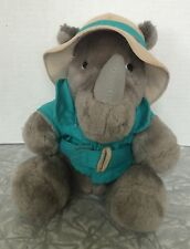 Vintage 1987 Dakin Fun Farm Plush Rhino Wearing Safari Hat Turquoise Jacket