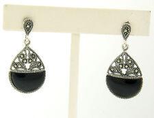 NEW .925 Sterling Silver Black Onyx Half Circle Marcasite Open Dangle Earrings