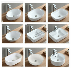 Ceramic Countertop Basin Sink Vessel Vanity Glossy Bathroom Laundry Bowl NO PLUG