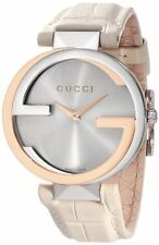 New Gucci Interlocking Large Silver Dial White Leather Ladies Watch YA133303 O.J