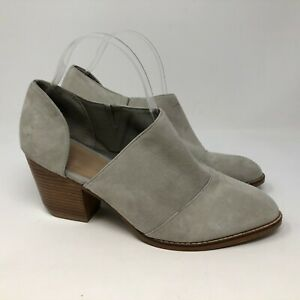 Shellys London Anime Bootie gray suede cutout side sz 10 block stacked heel
