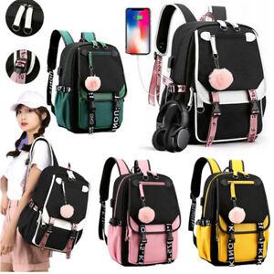 Herren Laptop Rucksack Schulrucksack Mädchen Teenager Schulranzen tasche mit USB