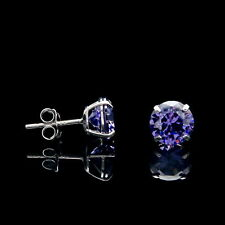 2CT Created Purple Amethyst Earrings 14K Real White Gold Round Solitaire Studs