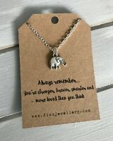 Always Remember Silver Plated 3D Elephant Necklace Quote Gift Message Card