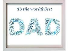 Personalised Dad word art Christmas Present Daddy Parents Fathers day Gift