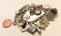 Superb Quality Ladies Substantial Heavy Vintage Solid Silver Charm Bracelet Nice